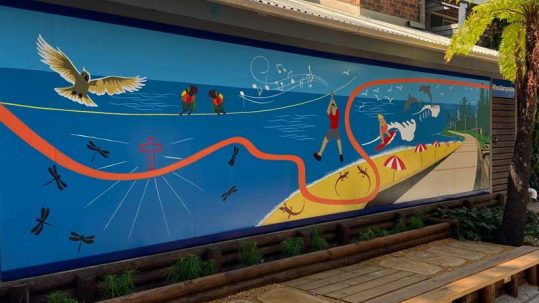 hand painted mural at Collaroy Centre